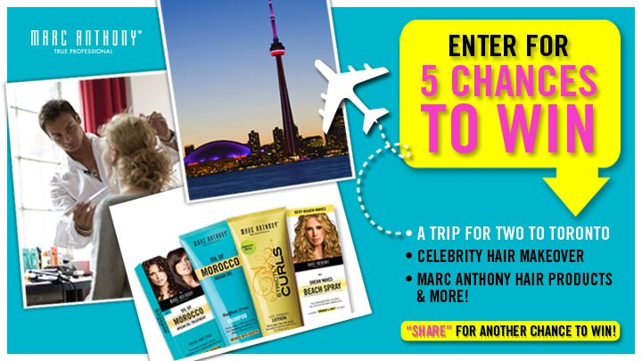 You should enter Win a Trip to Toronto with Marc Anthony. There are great prizes and I think one of us could win!