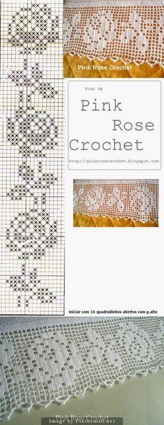 Filet crochet lace edging Perfect Rose ~~ Rosa Perfeita ~~ Baby Irish scallops on one othe filet strip straight edges ~~ http://pinkrosecrochet.blogspot.com.br/2009/03/barrado-rosas-croche-file-grafico-rose.html