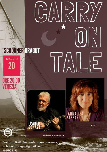I Carry on tale sono una band di Mantova. Paolo Bonazzi (chitarra e armonica) ed Annalisa Zapparoli (voce), vi regaleranno con la loro consueta allegria e bravura, alcune personali e suggestive rei…