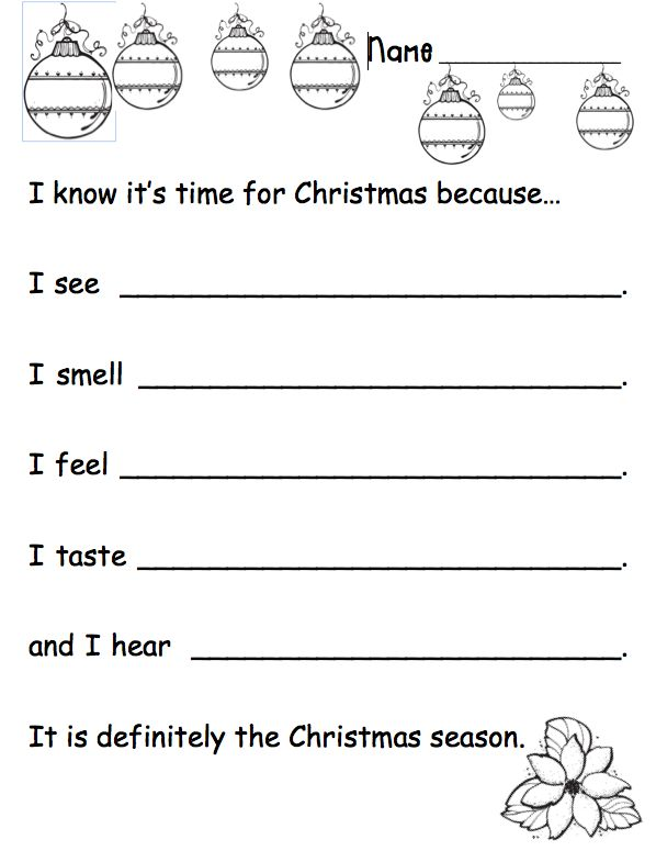 5 Senses Holiday Writing Prompt - Can be used for interactive writing or as a prompt. Use to help students focus on word choice, parts of speech, etc. Free product on TpT.