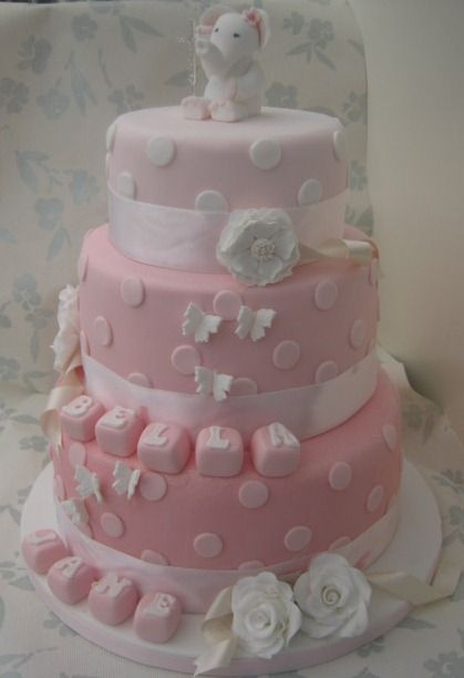 3 tier pink christening cake girl baby