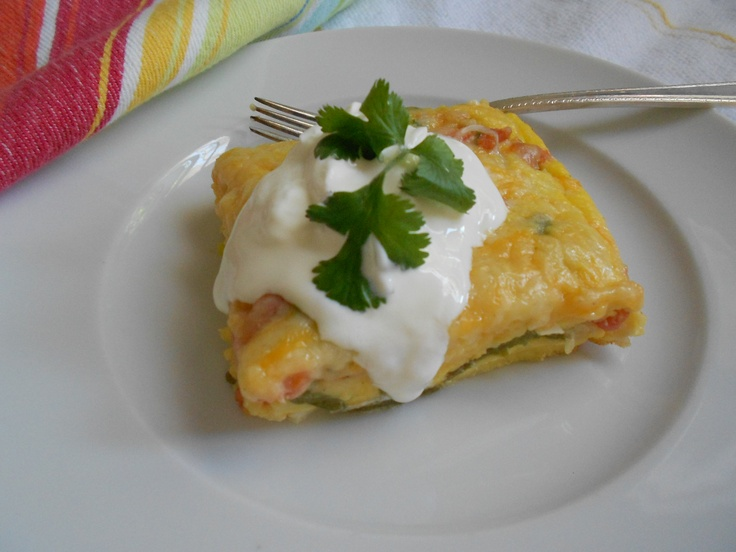 Chili Relleno Casserole the easy but more flavorful way. Layered chili relleno casserole with Anaheim chilies, salsa, egg and cheese. Find the recipe at www.cheflindaweiss.com new recipes