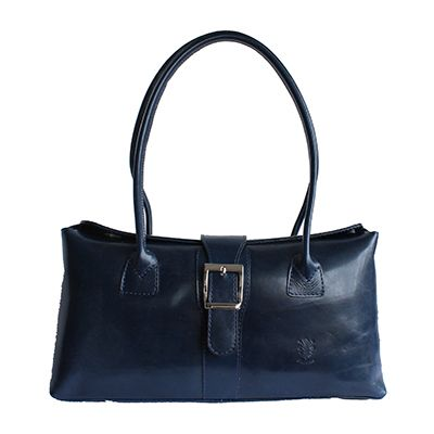 Buckle Lock Navy Blue Leather Shoulder Bag - Down to £49.99 from £59.99