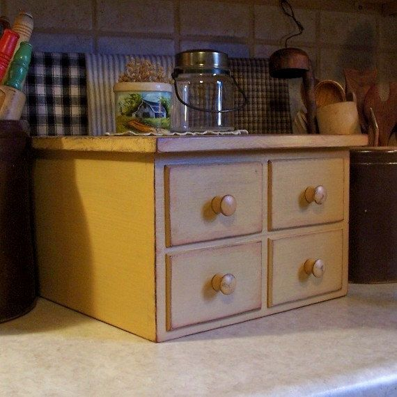 Primitive 4 Drawer Toaster Cover / Apothecary Style / Kitchen Storage for 4 Slice Square Toaster / Farmhouse Tan / Color Choice. $45.00, via Etsy.