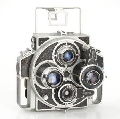 Tiranty Summa Report Very rare Italian press Twin lens paired camera for 6x9cm.   Two pairs of lenses on a turret, let you choose two picture angles.  Year: 1955