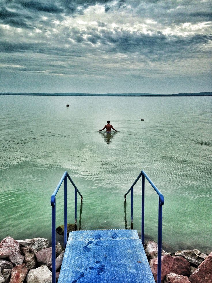 Swimming in Lake Balaton, Hungary. Beautiful place in central Europe for a summer vacation