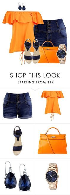 """""""Orange Top with Denim Shorts"""" by tlb0318 on Polyvore featuring Vince, Hermès, 2028 and Marc by Marc Jacobs"""