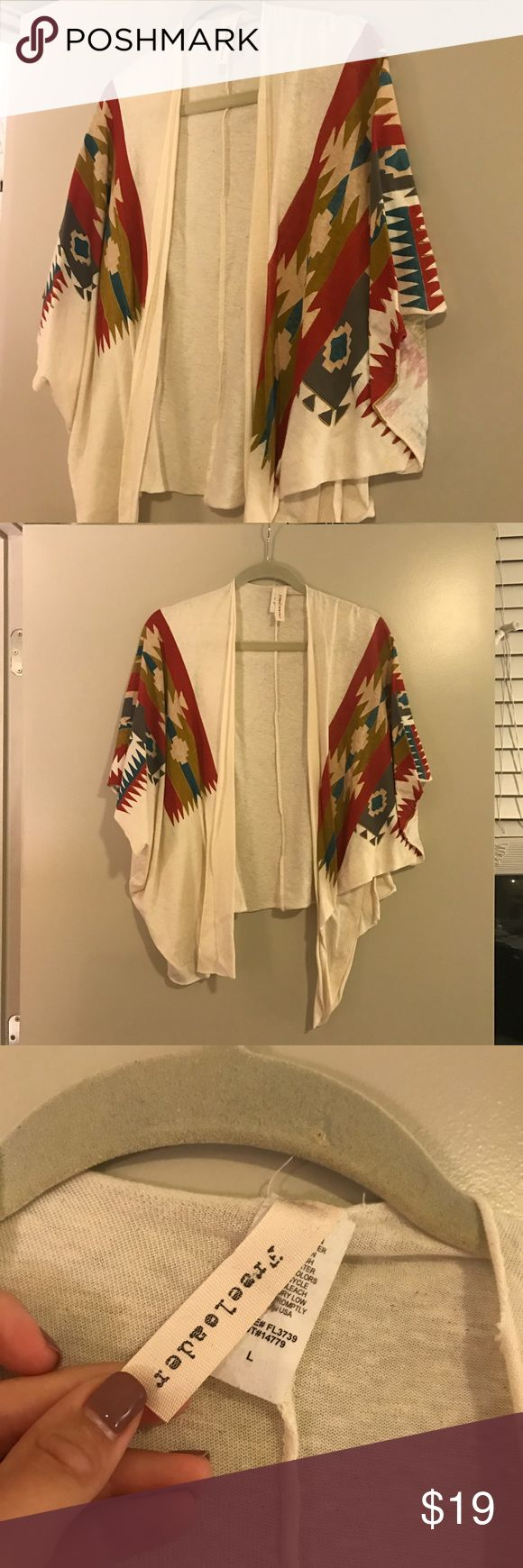 Freeloader Tribal Print Cardigan Very cute cardigan is perfect condition. Cream with tribal pattern. free loader Sweaters Cardigans