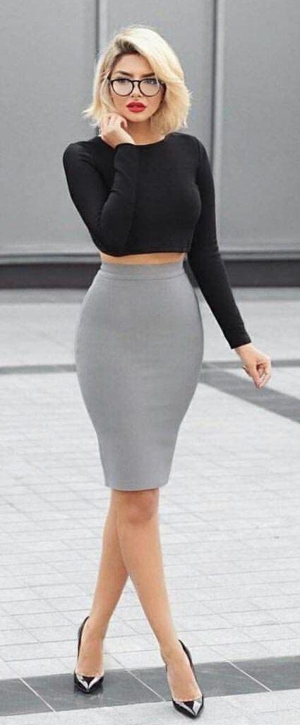 #summer #outfits Black Crop Top + Grey Pencil Skirt