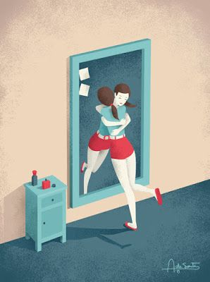 "Editorial illustration for Realsimple magazine, titled ""Mirror"". (Copyright Realsimple magazine)."