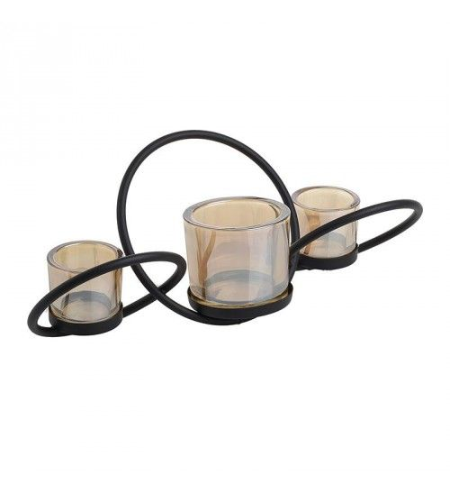 METALLIC_GLASS CANDLE HOLDER W_3  SECTIONS 40X14X16_5