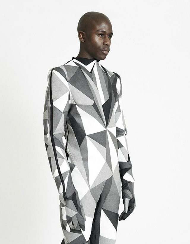Menswear collection byIchiro Suzukisuccessfully merges traditional British tailoring, structural engineering and Op-Art