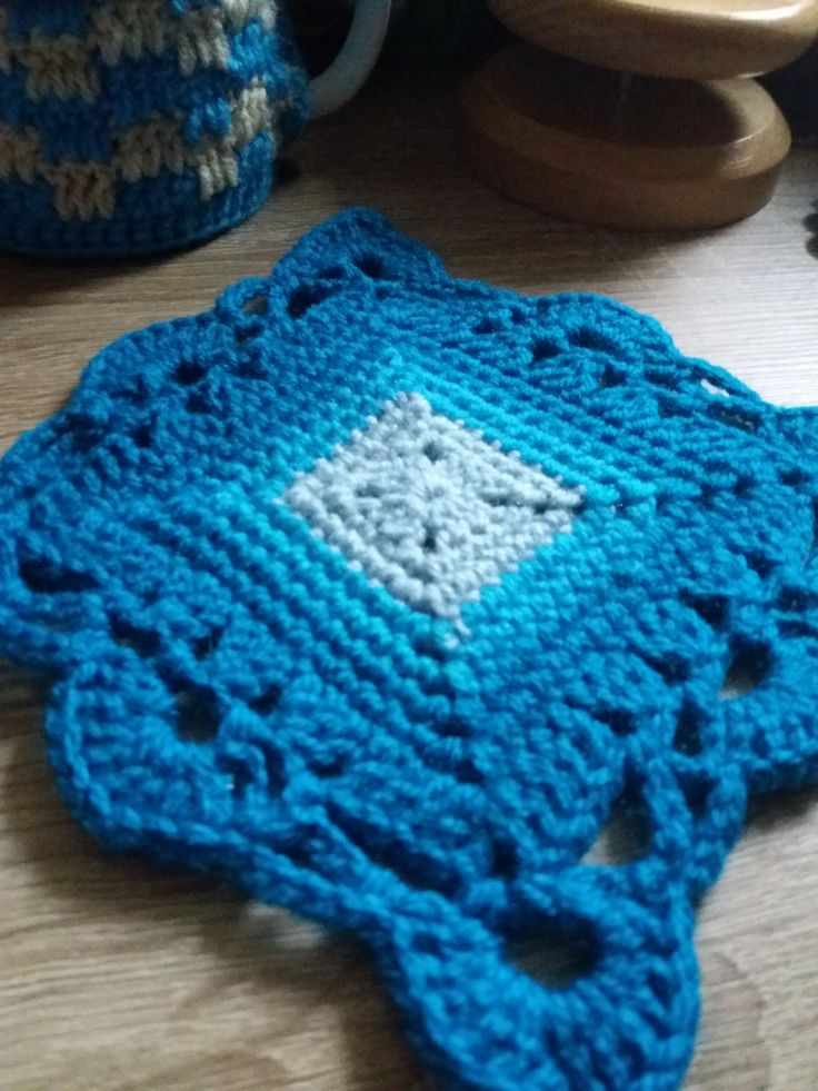 This square motif is my new design for a coaster or a granny square
