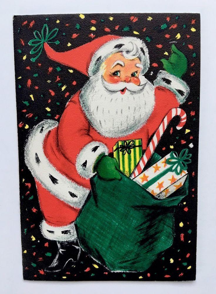 Vintage Mid Century Hallmark Black Christmas Card Santa Present Candy Confetti | eBay