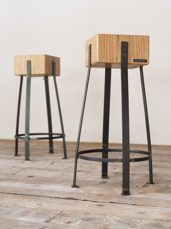 Delamont Pair of stools in chestnut wood and by IndustrieDelamont
