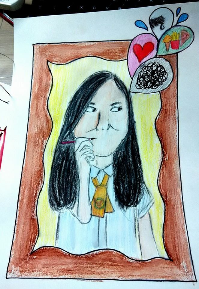 UPH College student work. Grade 11. Creative self-portrait project.