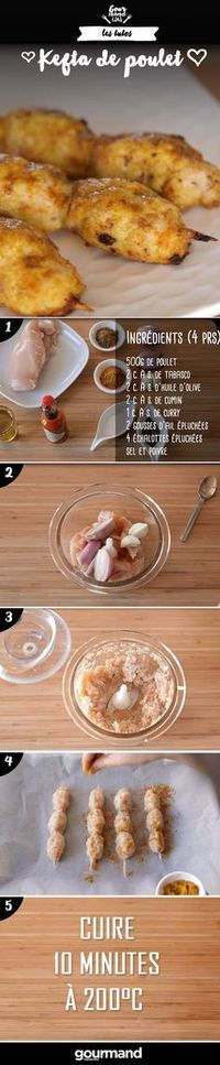 On récapitule : 1. Hachez le poulet avec le tabasco, les échalotes et l'ail. 2. Salez et poivrez. 3. Moulez votre préparation autour de brochettes en bois en leur donnant une forme ovale. 4. Disposez les keftas sur une plaque de cuisson. 5. Saupoudrez-les de cumin et de curry et arrosez-les d'huile d'olive. 6. Enfournez à 200°C pendant 10 minutes.