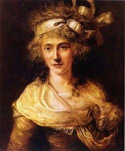 Anne Théroigne (1762–1817). Tuntemattoman taiteilijan öljymaalaus Pariisin Carnavalet-museossa.