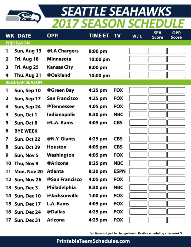 Seattle Seahawks Football Schedule 2017