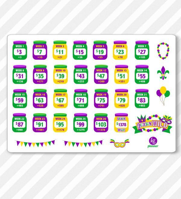 OFFICIAL GEAUX WILD Merchandise Bi-Weekly 52 Week Savings Challenge Planner Stickers