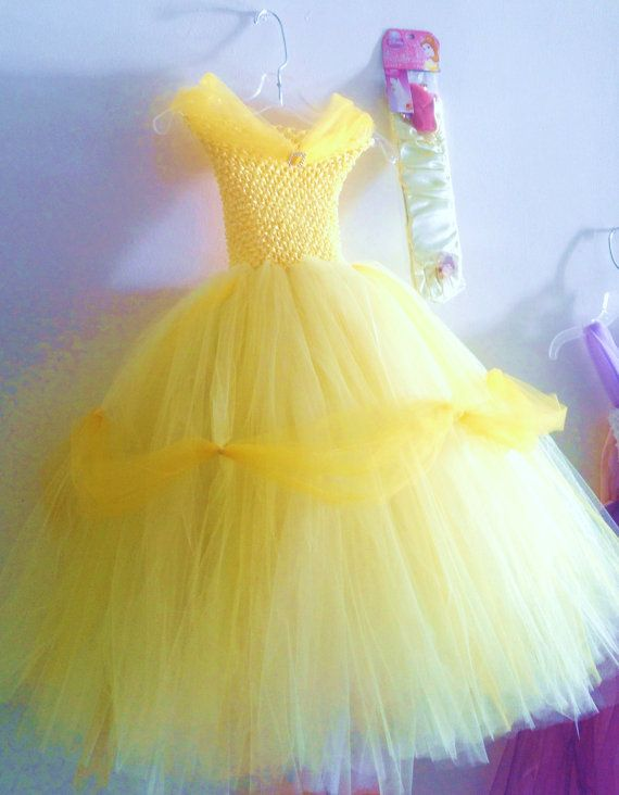 Girls Tutu Costume Belle (inspired) with gloves,size 4,5,6  yellow tutu gown other sizes available upon request on Etsy, $38.99
