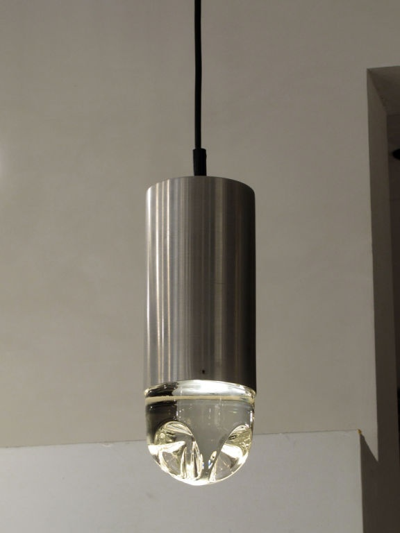 Anonymous; Aluminum And Solid Molded Glass Pendant Lamp By Raak, 1960s.