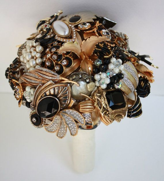 Brooch Bouquet Gatsby Art Deco Style by baublesandbrides on Etsy, $525.00