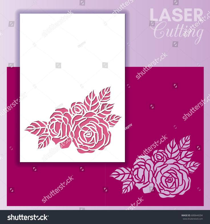 Laser cut wedding invitation or greeting card with roses. Invitation envelope mock up for laser cutting. Cutout paper card for laser cutting or die cutting template.