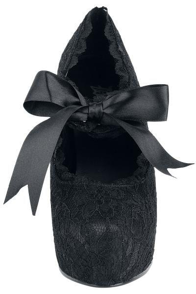 """Scarpe donna """"Demon"""" firmate #Demonia, nere con tacco di 13 cm e fiocco nero sul collo del piede. Un modello Mary Jane estremamente sexy, arricchito dal pizzo che ricopre l'intera superficie della calzatura."""