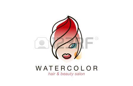 beauty makeup logo: Volto di donna Logo stile acquerello per Beauty Spa Hair Salon modello di disegno vettoriale. Stile creativo lineart Fashion logo. Vettoriali