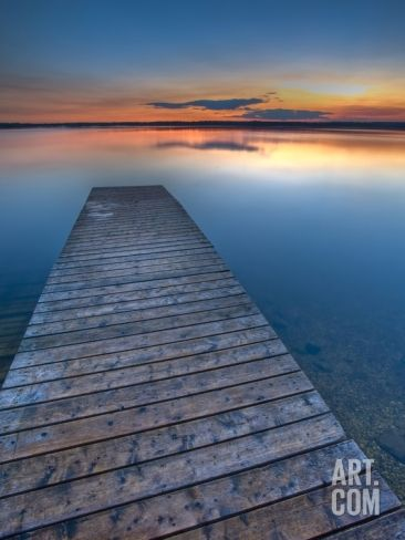 Sunset Over a Wooden Wharf on Lake Audy, Riding Mountain National Park, Manitoba, Canada Photographic Print