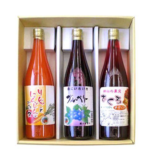 """【ありふれてないジュース720m3種】果汁が濃く、目の健康にブルーベリージュース。体を温める、飲みやすいにんじんりんごジュース。女性の体にやさしいザクロジュース""""その美味しさと、体にやさしい""""を基本にセレクトしています。商品ページ→ http://sinsyu.shops.net/item?itemid=20800"""