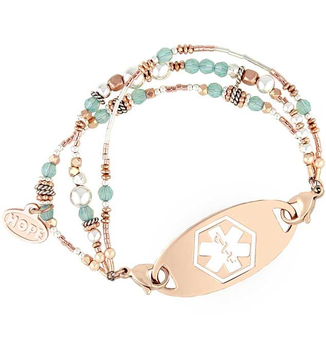 not really the type of jewelry I wanted to shop for this year....Rhythm and Blues Medical ID Bracelet with Rose Gold Tone Tag