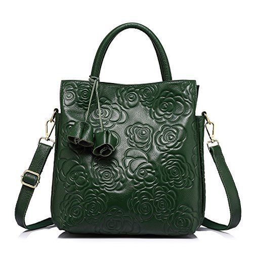 New Trending Shoulder Bags: Designer Genuine Leather Handbag Women Tote Bag Floral Embossed Shoulder Bag by Realer Green. Designer Genuine Leather Handbag Women Tote Bag Floral Embossed Shoulder Bag by Realer Green   Special Offer: $61.99      200 Reviews Made of genuine leather,this handbag feels really soft.Its three – tier design makes it looks very stylish and offers large capacity,you will find it...