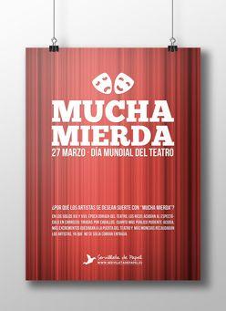 """Mucha Mierda"" Dia mundial del teatro - Servilleta de Papel"