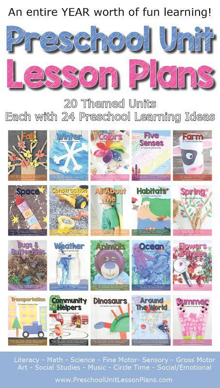 An entire year worth of preschool unit lesson plans - 20 themed units, each with 24 preschool learning ideas. Includes materials list, instructions, and clear colored photos. Perfect for teachers and homeschoolers!