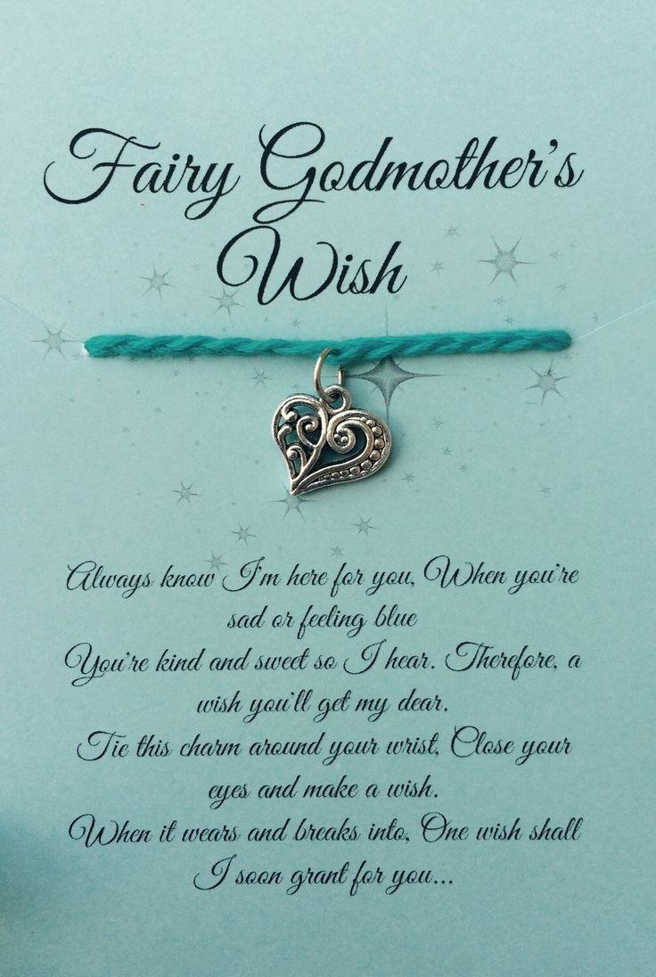 Blue Girls Fairytale Fairy Godmother Wish Bracelet Poem
