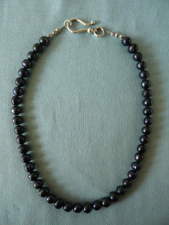 Dark Blue Irridescent Freshwater Pearls.
