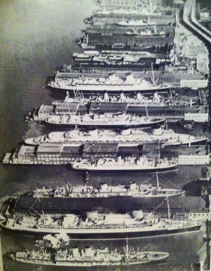 "Luxury Liner Row, Manhattan, New York, 1939 - From top to Bottom are ""Monarch of Bermuda"", The ""Fort Townshend"", The ""Conte di Savoia"", The ""Aquatania"" (Sister ship to the Lusitania), The ""Britannic"", The ""Normandie"", The ""De Grasse"", The ""Bremen"" and The ""Columbus"". All but three of these ship would later sink. The Three that did not sink were the Aquatania, The Britannic and the Fort Townshend."