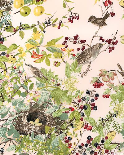 "The exquisite renderings of flora and fauna by Edith Holden decorate this collection in all their delicate detail. Keenly observed and exquisitely drawn birds perch among berry vines nearby their nest. Resting over a gauzy pink ground as if pulled directly from her Nature Notes Diary, these birds will be a special pleasure for any naturalist. Larger birds are about 3"", from 'The Country Diary of an Edwardian Lady' by Camelot Cottons."