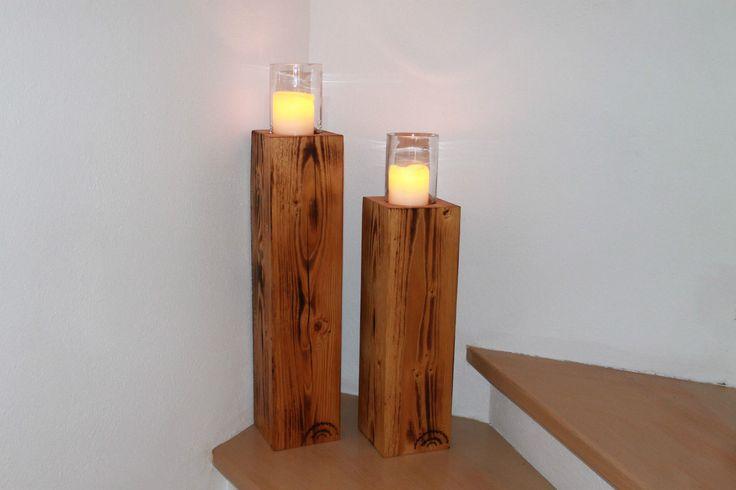 große, massive Kerzenständer / Säulen aus alten Holzbalken Holzwurmdratzer | eBay