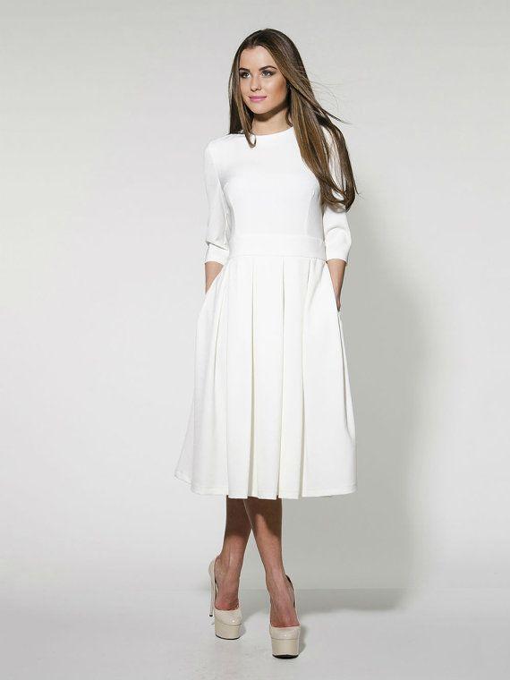 Elegante weiße MIDI Kleid formale Pleated Wedding von FashionDress8