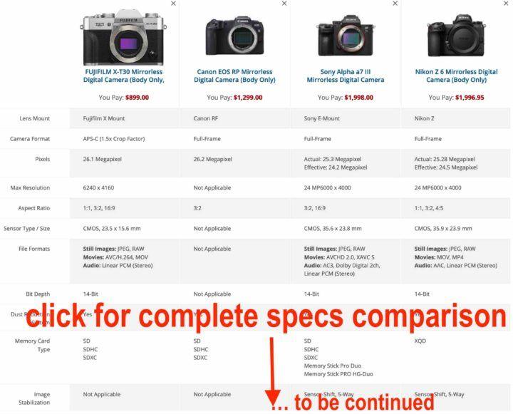 Fujifilm X T30 Vs Sony A6400 A6500 And Vs Canon Eos Rp Zikon Z6 Sony A7iii Fujifilm X T30 Fair Vs Unfair Comparisons The Fujifilm X T Fujifilm Canon Eos Eos