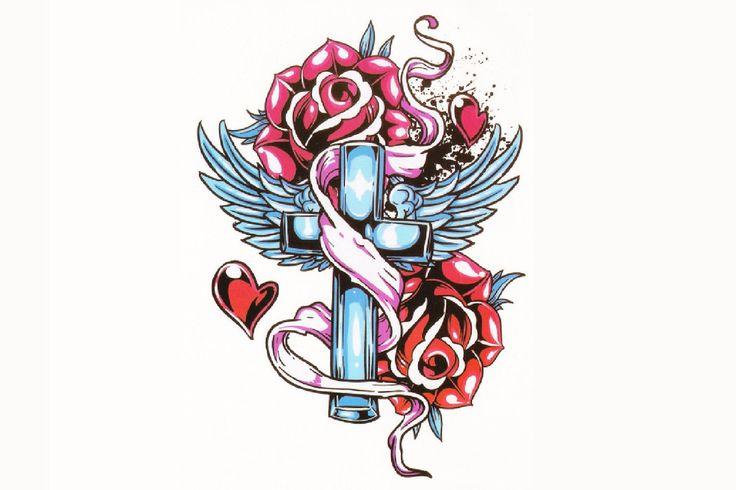 Cross & Roses Tattoo