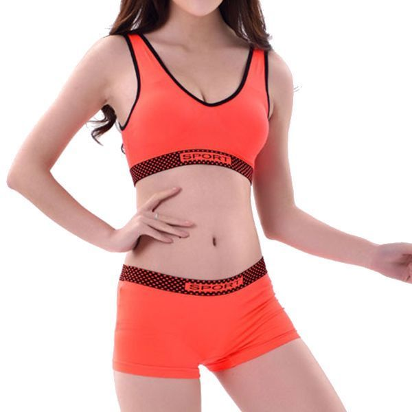7522a9453208d Fashion world bra fitting comfort wireless padding seamless solid color  boyshorts yoga sleeping bra sets