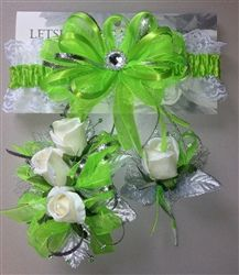 Bright green prom garter & corsage set
