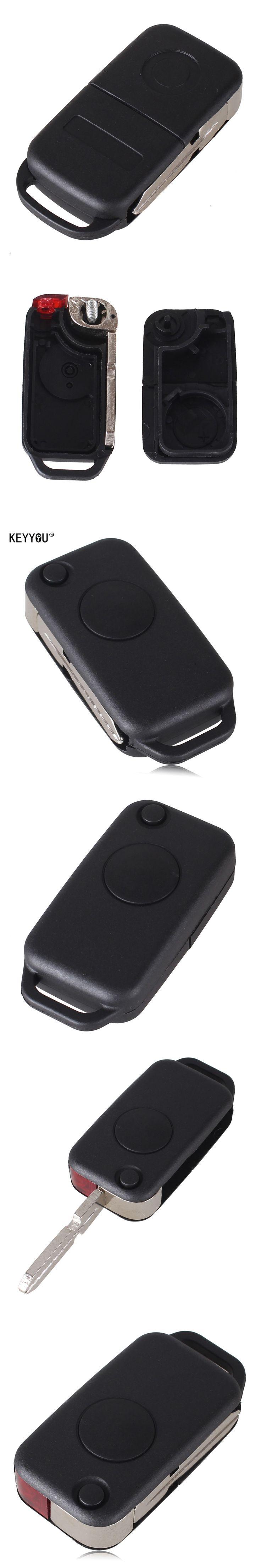 KEYYOU 1 Button Flip Folding Keyless Entry Remote Key Fob Case Shell for Mercedes Benz C E S ML SL ML55 AMG S500 SL500
