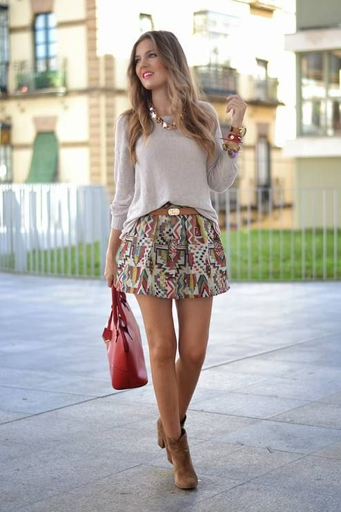 Beige Multi Tribal Print A-line Mini Skirt