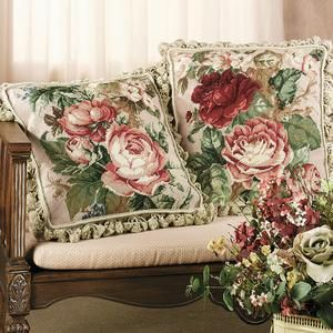 Gorgeous Cabbage Rose Needlepoint Pillows