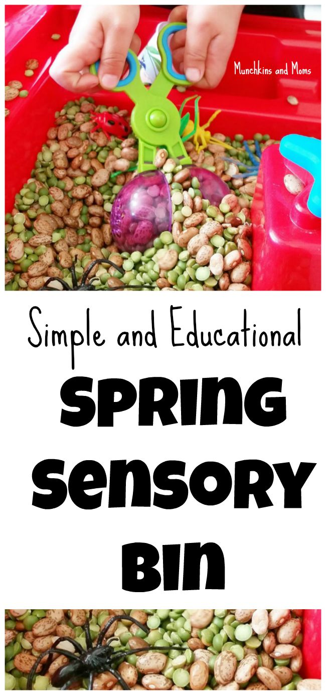Simple and educational Spring sensory bin for preschoolers and toddlers